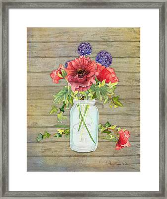 Rustic Country Red Poppy W Alium N Ivy In A Mason Jar Bouquet On Wooden Fence Framed Print