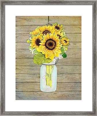 Rustic Country Sunflowers In Mason Jar Framed Print by Audrey Jeanne Roberts