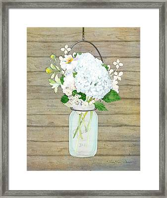 Rustic Country White Hydrangea N Matillija Poppy Mason Jar Bouquet On Wooden Fence Framed Print