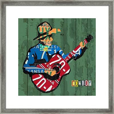 Rustic Cowboy Playing Acoustic Guitar Recycled License Plate Art Framed Print by Design Turnpike