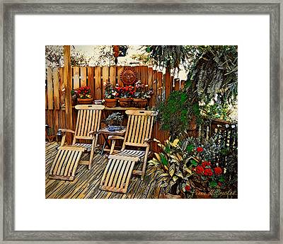 Framed Print featuring the digital art Rustic Deck by Pennie McCracken