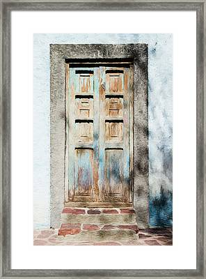 Framed Print featuring the photograph Rustic Door In San Miguel De Allende by Rob Huntley
