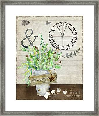 Rustic Farmhouse Our Happy Place Framed Print