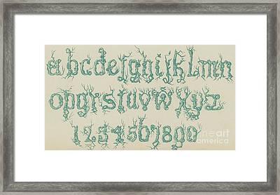 Rustic Font Framed Print by English School