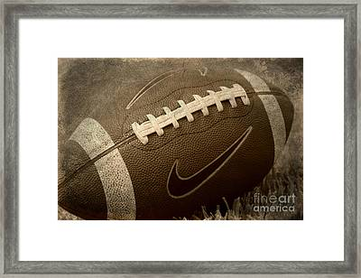 Rustic Football Framed Print by Amy Steeples