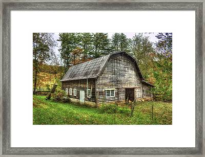 Rustic Gambrel Style Mountain Barn Great Smoky Mountains Framed Print by Reid Callaway