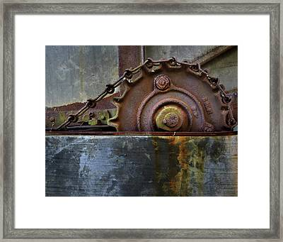 Framed Print featuring the photograph Rustic Gear And Chain by David and Carol Kelly