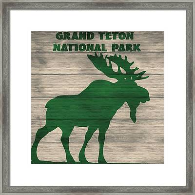 Rustic Grand Teton Moose Framed Print