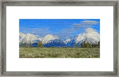 Rustic Grand Teton Range On Wood Framed Print by Dan Sproul