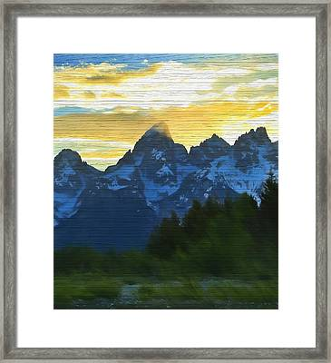 Rustic Grand Teton Sunset Framed Print