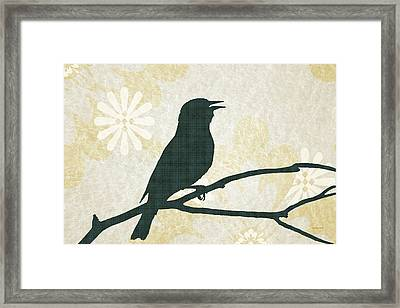 Rustic Green Bird Silhouette Framed Print by Christina Rollo