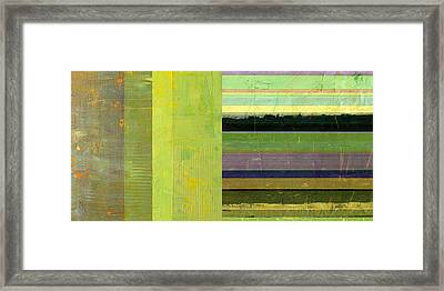 Framed Print featuring the painting Rustic Green Flag With Stripes by Michelle Calkins