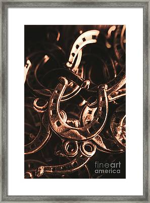 Rustic Horse Shoes Framed Print