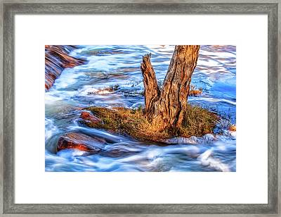 Framed Print featuring the photograph Rustic Island, Noble Falls by Dave Catley