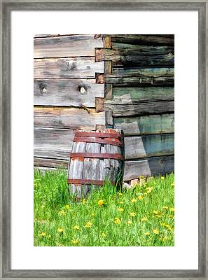 Rustic Rain Barrel At Old World Wisconsin Framed Print