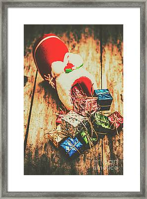 Rustic Red Xmas Stocking Framed Print by Jorgo Photography - Wall Art Gallery