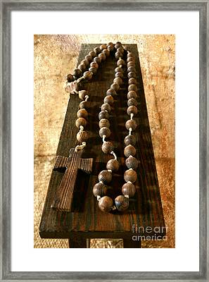 Rustic Rosary Framed Print by Carol Groenen