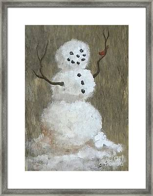 Rustic Snowman And Little Red Bird, A Warm Friendship, Small Crop Framed Print by Sheri Lauren Schmidt
