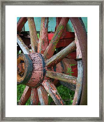 Rustic Spoke Framed Print