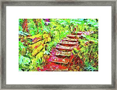 Rustic Step Path Through The Woods - Tamalpais California Framed Print