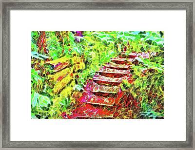 Framed Print featuring the digital art Rustic Step Path Through The Woods - Tamalpais California by Joel Bruce Wallach