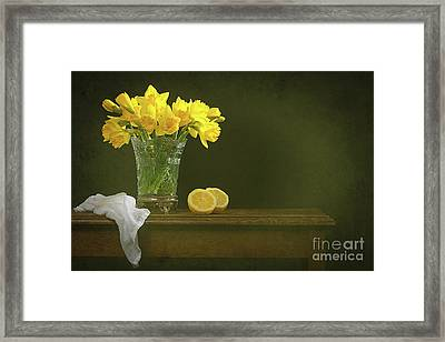 Rustic Still Life With Daffodils Framed Print