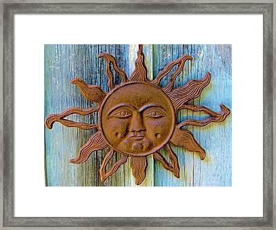 Rustic Sunface Framed Print