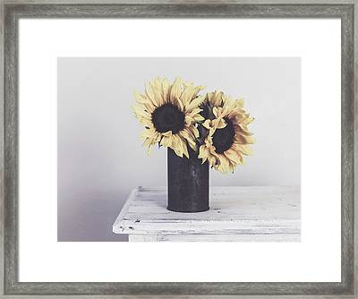 Rustic Sunflowers Framed Print by Kim Hojnacki