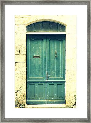 Rustic Teal Green Door Framed Print by Georgia Fowler