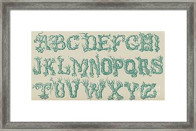 Rustic Vine Font Capital Letters Framed Print by English School