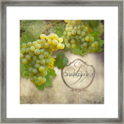 Rustic Vineyard - Chardonnay White Wine Grapes Vintage Style Framed Print by Audrey Jeanne Roberts