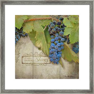 Rustic Vineyard - Shiraz Wine Grapes Over Stone Framed Print by Audrey Jeanne Roberts