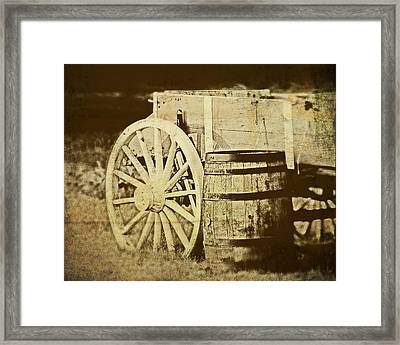 Rustic Wagon And Barrel Framed Print
