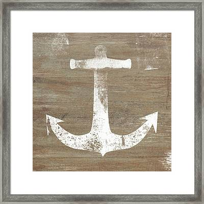 Framed Print featuring the mixed media Rustic White Anchor- Art By Linda Woods by Linda Woods
