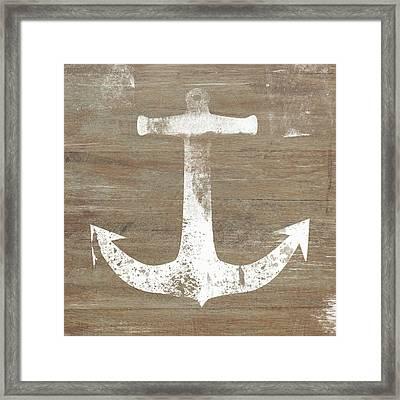 Rustic White Anchor- Art By Linda Woods Framed Print