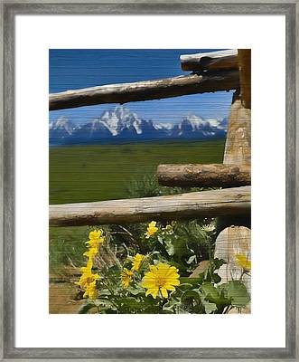 Rustic Wildflowers And Tetons Framed Print