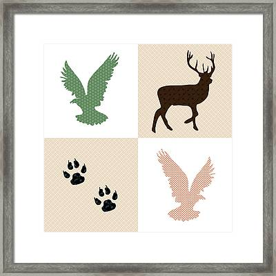Rustic Wildlife Pattern Framed Print