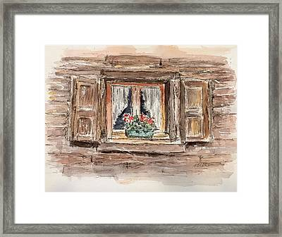 Rustic Window Framed Print by Stephanie Sodel
