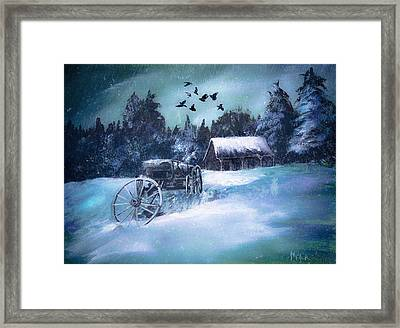 Rustic Winter Barn  Framed Print