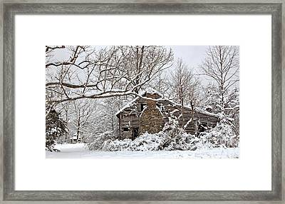 Rustic Winter Cabin Framed Print by Benanne Stiens