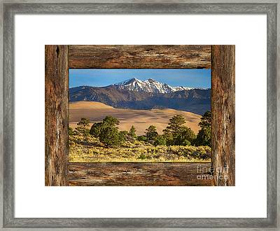 Rustic Wood Window Colorado Great Sand Dunes View Framed Print by James BO Insogna