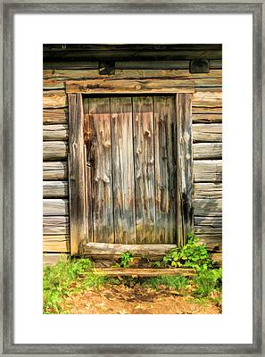 Rustic Wooden Door At Old World Wisconsin Framed Print