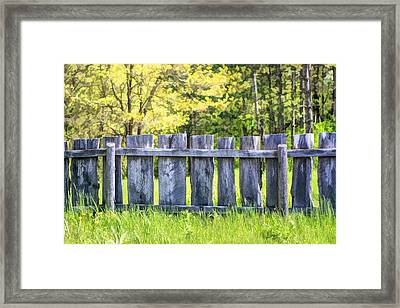 Rustic Wooden Fence At Old World Wisconsin Framed Print