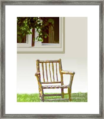 Rustic Wooden Rocking Chair Framed Print