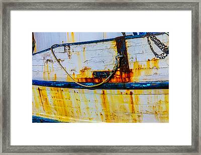 Rusting Fishing Boat Detail Framed Print by Garry Gay