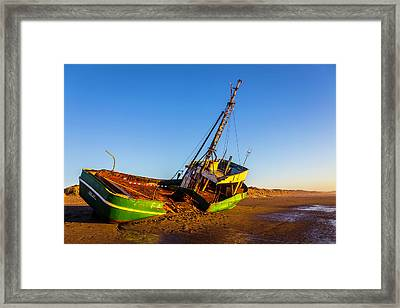 Rusting Old Fishing Boat Framed Print by Garry Gay