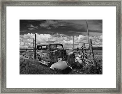 Rusty Auto Wreck Abandoned Out West In Black And White Framed Print by Randall Nyhof