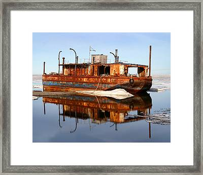 Rusty Barge Framed Print by Anthony Jones