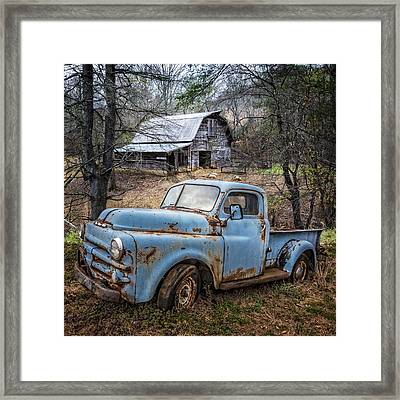 Rusty Blue Dodge Framed Print by Debra and Dave Vanderlaan