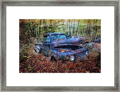 Framed Print featuring the photograph Rusty Blue Vintage Ford  Truck by Debra and Dave Vanderlaan